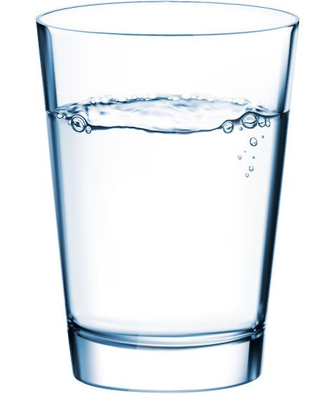 glass of water from a bottleless water cooler