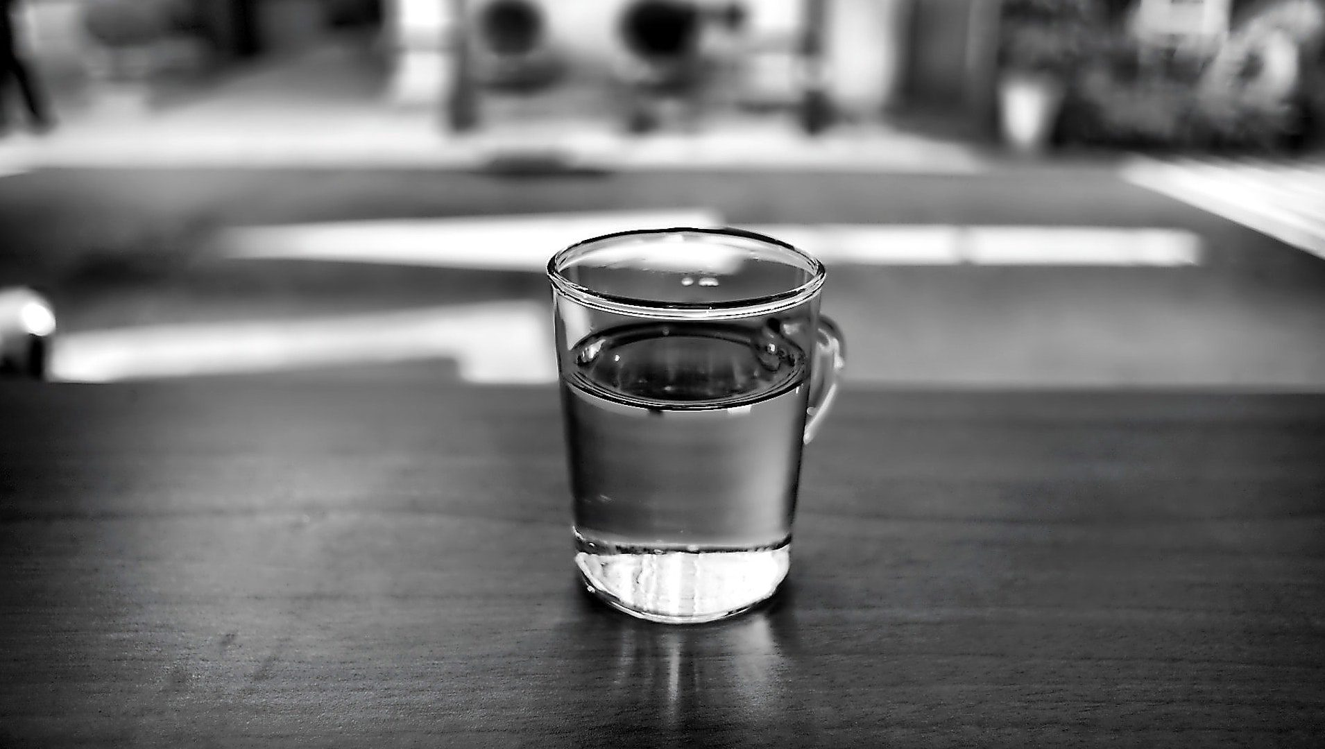 glass of water sitting on table