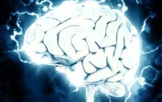 brain with electrical charges
